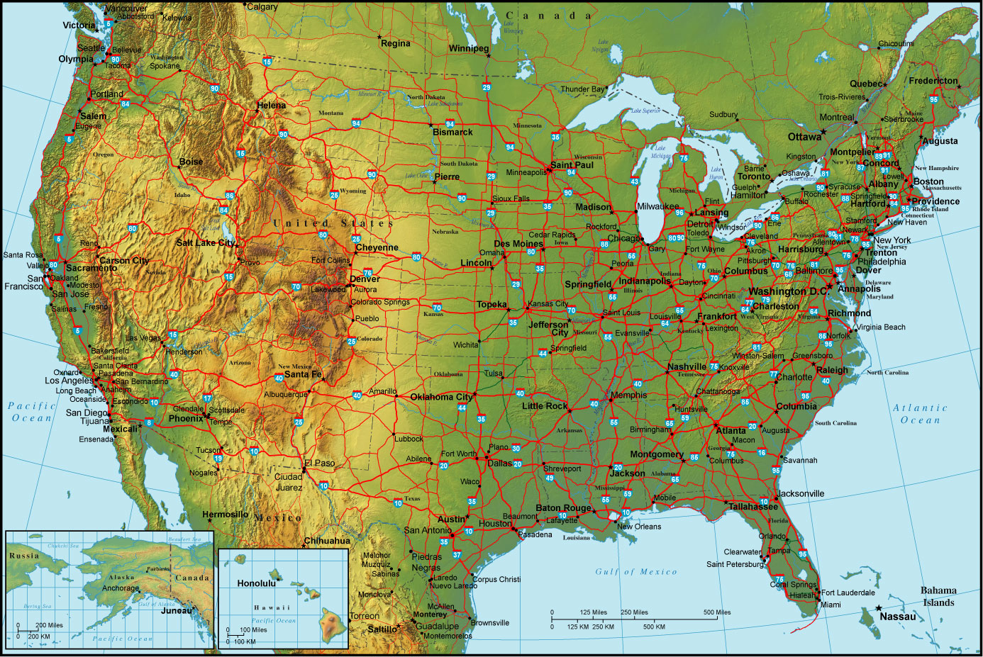 United states map > large map of united states